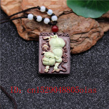 Natural Two Color Chinese Jade Pig Pendant Necklace Charm Jewellery Carved Amulet Fashion Accessories Gifts for Women Men(China)