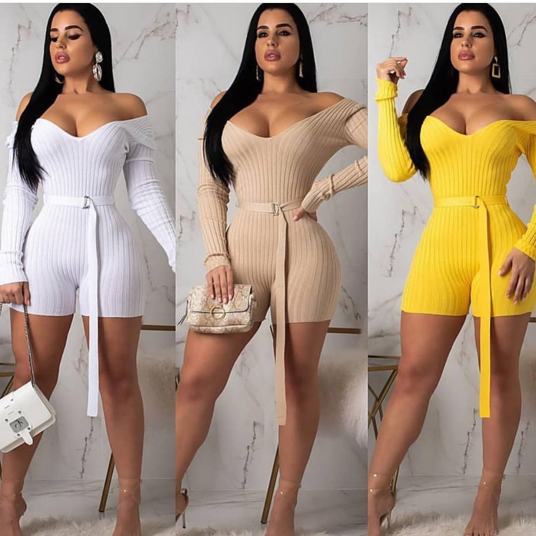 2019 Europe And The United States New Women's Classic Fashion Casual Word Shoulder Solid Color Sexy Jumpsuit With Belt