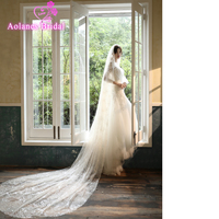 Full Sequins Bridal Veils 3 Meters Cathedral Wedding Veils Long Beading Bridal Veil With Comb Wedding Accessories Bride Veu 2019
