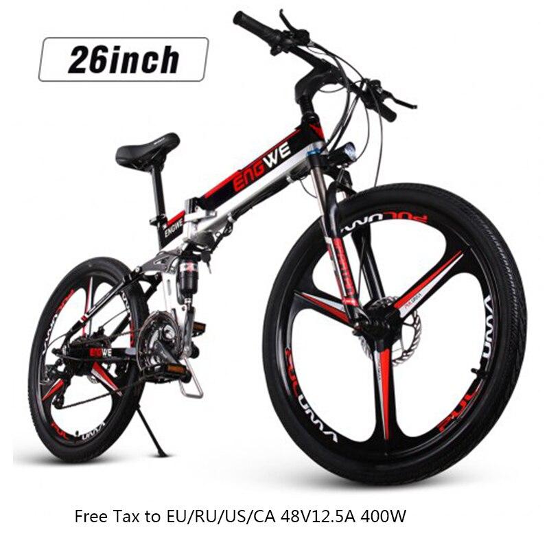 26 cal rower elektryczny aluminium składany rower elektryczny o mocy 400W o dużej mocy Mottor 48V12.5A baterii 21 prędkości rower górski e rower rower na plażę