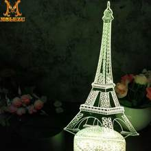 Molezu Halloween Eiffel Tower 3D Led Night Light Decoration Children Kids Gifts 7 Color Changing Visual Table Lamp(China)