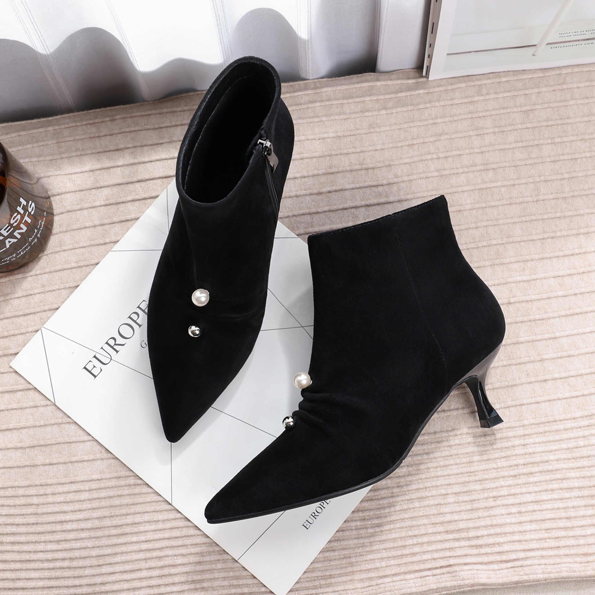 Femmes bottes femme chaussures 2019 nouveau troupeau perle décoration côté fermeture éclair bout pointu talon haut mince noir mince talons printemps automne