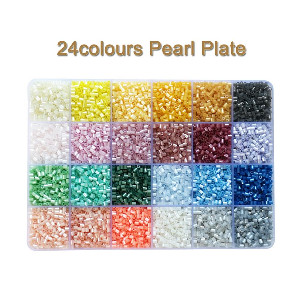 Yantjouet 2.6mm 24colours Pearl Plate Kits 13200pcs Puzzle Hama Perler Beads Set Diy Box Pegboard Iron Beads Fuse Gift Children Toy