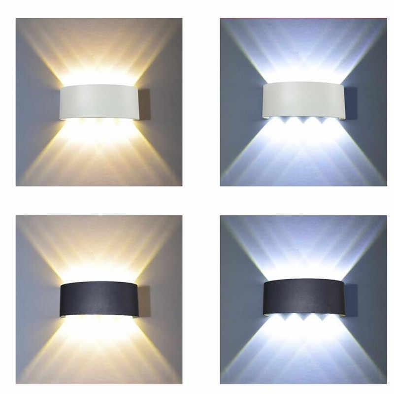 Lámpara de pared Led de aluminio para exteriores, Ip65 para interiores, arriba abajo, Blanco, Negro, moderno para el hogar, escaleras, dormitorio, cabecera de baño