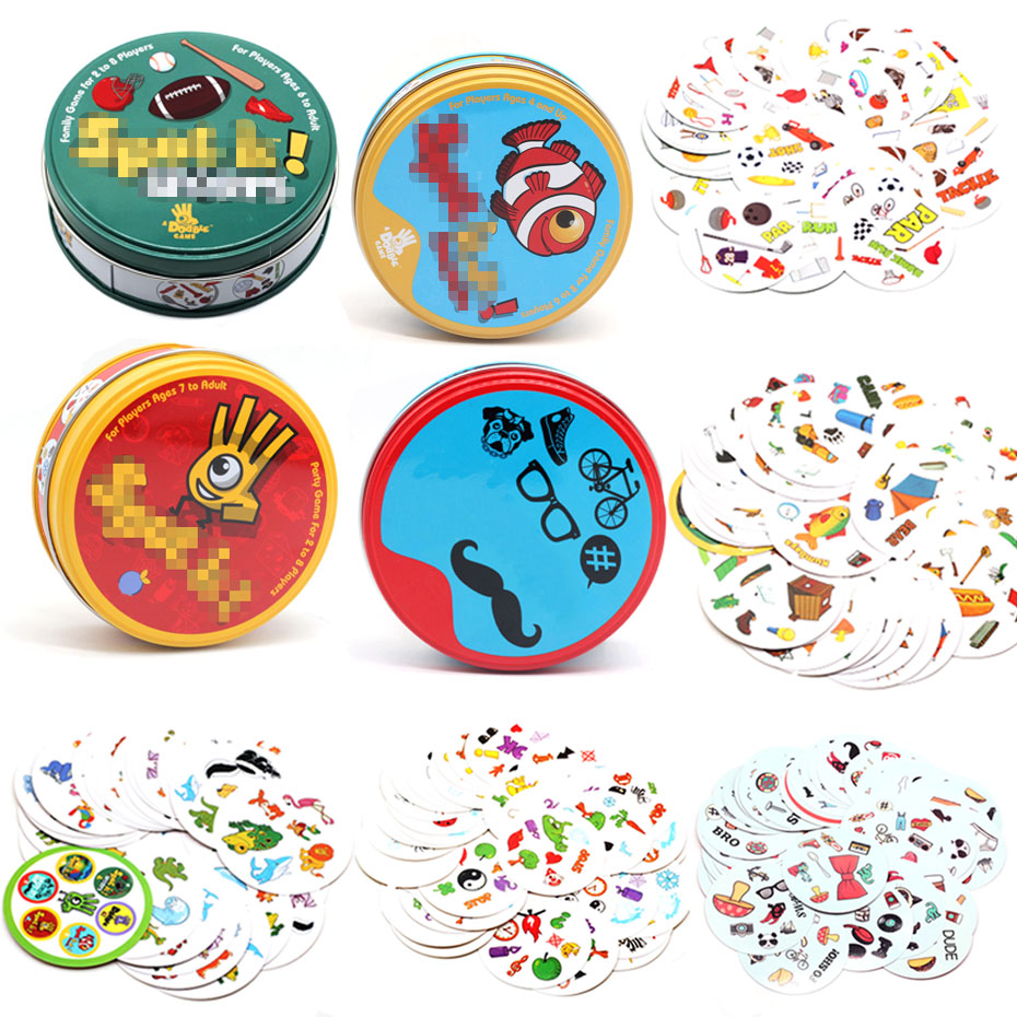 2020spot It And Dobble Card Game Table Board Game For Dobbles Kids Spot Cards It Go Camping Metal Tin Box Toys