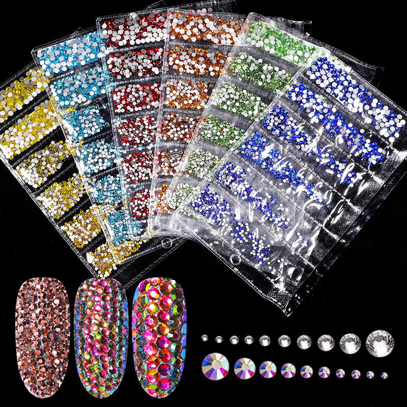 1700pcs Multi-size Glass 3D Rhinestones Set Nail Art Design Gems Nail Decorations Crystal Strass AB Stones Manicure Decorations
