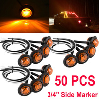 Auto Parts Side Marker LED Lights Car Truck 50Pcs Set 3/4 Inch Amber Round DC 12V In Styling