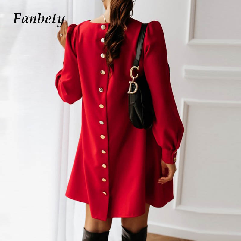 Office Lady Back Metal Buttoned Mini Dress Women Spring Casual O Neck Party Dress Autumn Female Solid Long Sleeve Dress Vestidos
