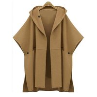 Bohoartist Winter Women Wool Coat Plus Size Cape Slim Autumn Poncho Casual Cloak Outerwear Loose Fashion Lady Black Hooded Coats