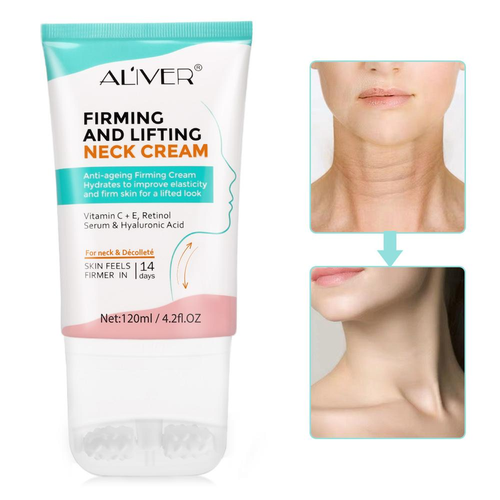 Double Roller V-Type Neck Cream 120g Massager Nourish Neck Care To Fade Neckline Wrinkle Lifting Firming Brighten Neck Mask