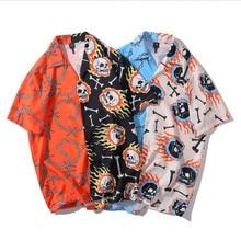 2021 Hip Hop Shirt Streetwear Men Hawaiian Shirt Fire Skull Chain Harajuku Beach Shirt HipHop Shirts Summer Tops Short Sleeve