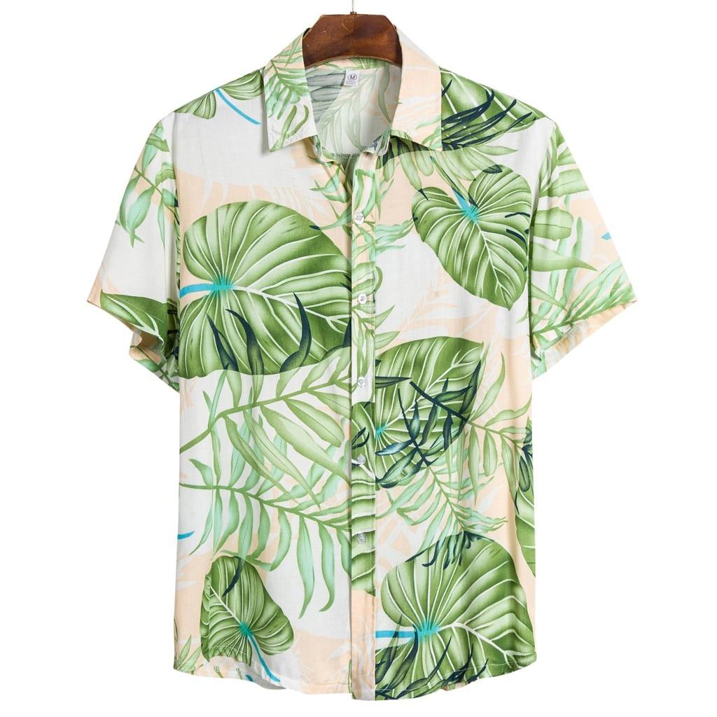 Men Ethnic Short Sleeve Casual Print Hawaiian Shirt Blouse Plus Size 3XL Shirts Camisa Masculina Camisas Para Hombre 2020 Summer
