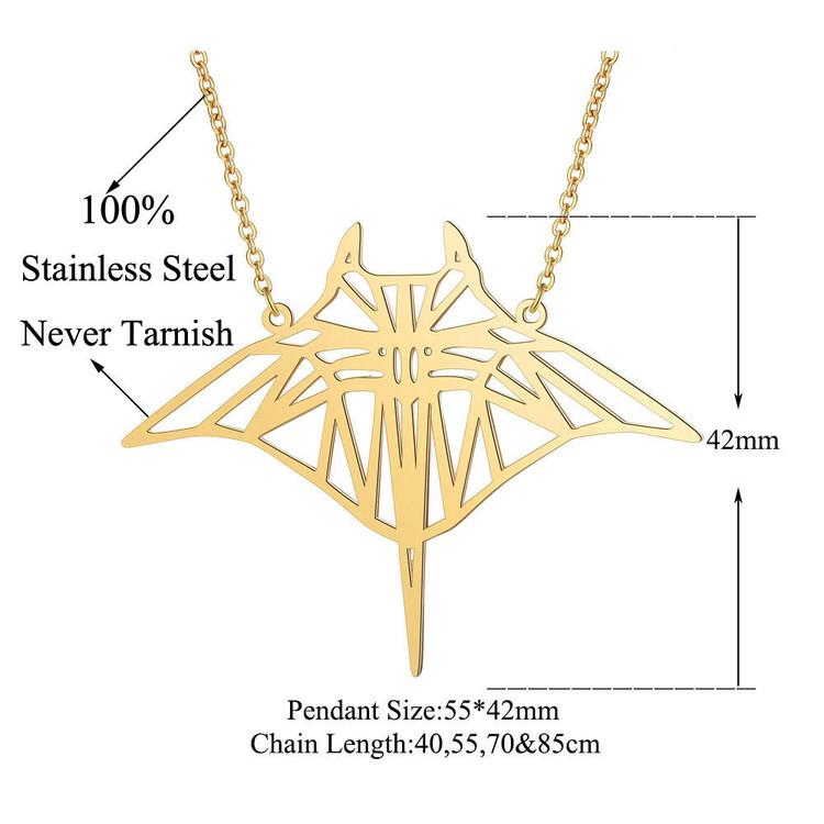 Mantarochen Edelstahl Halskette Laser Cut Schmuck Unterwasser