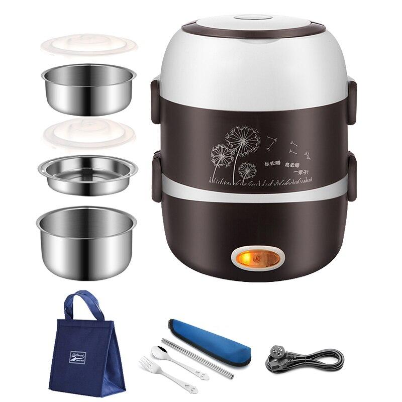 220V Portable électrique chauffage boîte à déjeuner en acier inoxydable alimentaire conteneur Thermos bureau Bento boîte alimentaire vapeur Mini cuiseur à riz