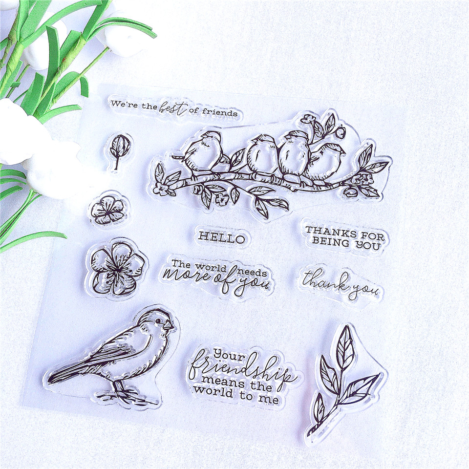 Birds' Best Friend Craft Transparent Silicone Stamp for Scrapbooking DIY Photo album Decorative Clear Stamp and Cutting Die