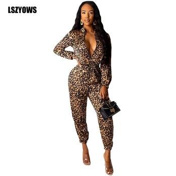 primer nivel marca popular nuevos productos para Mamelucos con estampado de leopardo Mono para mujer de manga larga con  cremallera hasta cintura elástica mono ajustado de otoño monos para Fiesta  Club ...