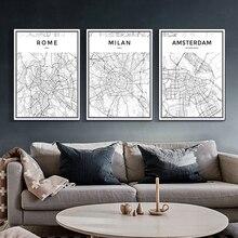 Modern New York Paris London Rome Milan City World Maps Black White Canvas Paintings Poster Print Wall Art Picture Home Decor