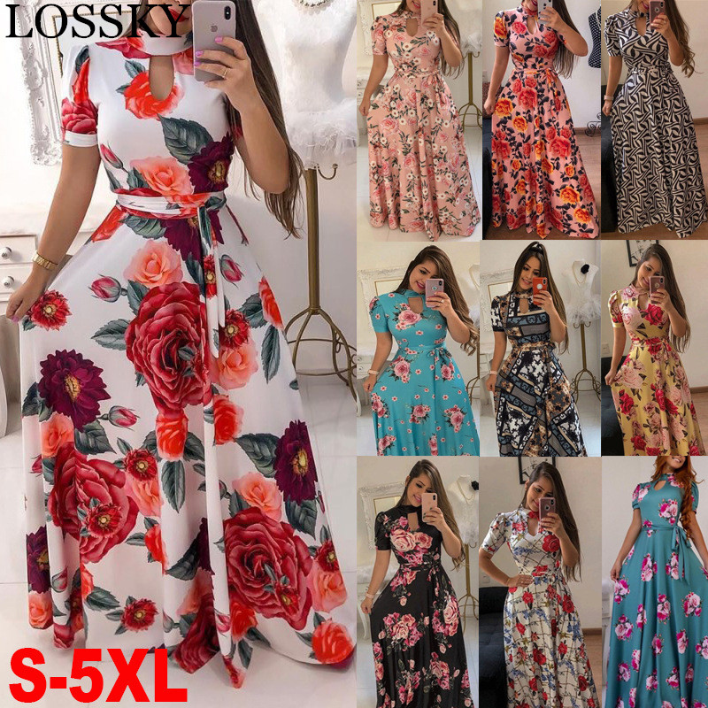 Elegant Spring Autumn Women Dress 2019 Casual Bohmia Flower Print Maxi Dresses Fashion Hollow Out Tunic Vestidos Dress Plus Size