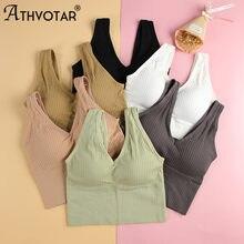 ATHVOTAR – soutien-gorge sans fil pour femmes, haut court à rayures, tout assorti, rembourré, Lingerie confortable, sous-vêtements doux, nouvelle collection