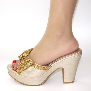 doershow Italian Ladies Sexy Low Heel Pumps For Wedding Rhinestones Design Women Pumps African Sandal Shoes for Party HRT1-9