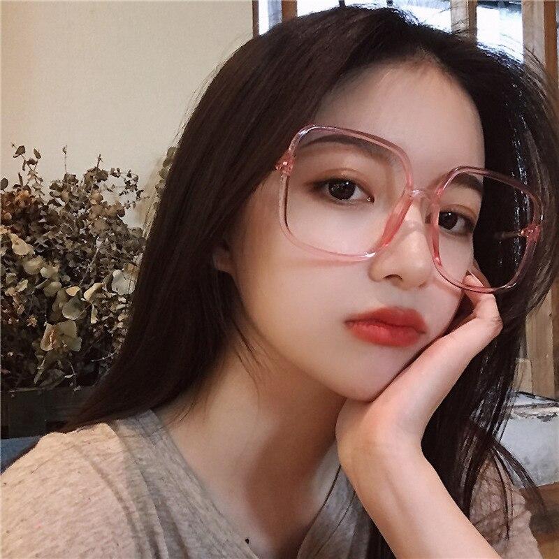 Kottdo New Large Square Glasses Pink Sexy Female Flat Mirror Anti-blue Transparent Glasses Frame Eye Glasses Frames For Women