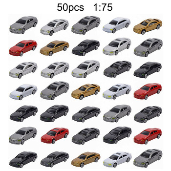 10/50pcs 1:75 1:87 Scale Simulation Plastic Mini Car Plastic Model Car for DIY Sand Table Building Model image
