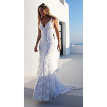 Elegant Summer Dress Women Sexy Evening Party Night Long Dresses Embroidery Maxi White V Neck Halter Gown Woman Clothes 2019