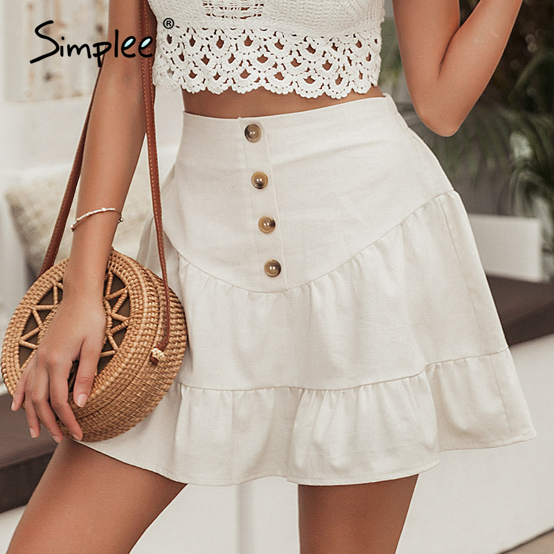 Simplee Solid Summer 2020 Casual High Waist Skirts Button A Line Beach Skirt Ruffles High Fashion Short Femme Linen Skirts