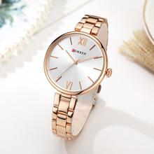 CURREN kobiety zegarki luksusowe marki zegarek złota róża kobiety zegar kwarcowy kreatywny drewna wzór Dial moda zegarek 9017 tanie tanio QUARTZ Zapięcie bransolety CN (pochodzenie) STOP 3Bar Moda casual 12mm ROUND Odporne na wodę Hardlex 20cm STAINLESS STEEL