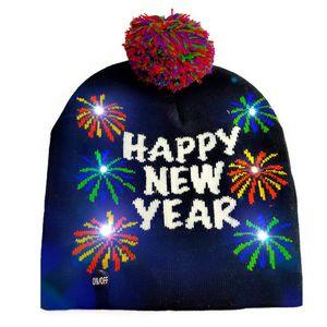 Lindo LED de Santa Navidad Feliz Año Nuevo de sombreros de luz-de Navidad de punto Beanie gorro para adultos luz colorido brillante