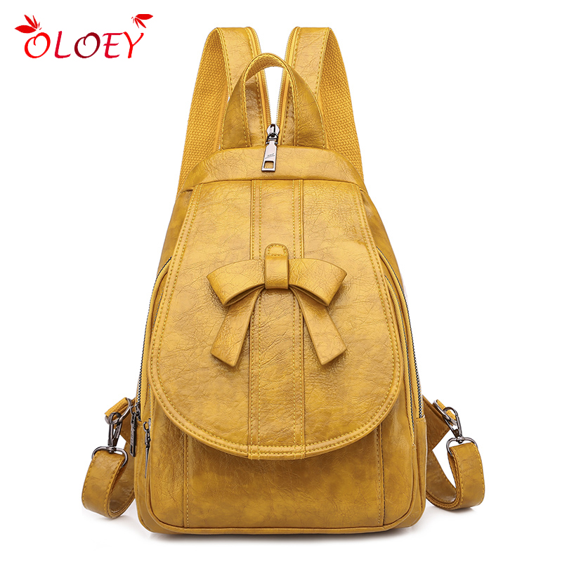 Fashion Bow Women Backpack Quality PU Leather Multifunctional Backpack  Girl Chest Bag Travel Rucksack 2020 New Fashion Hot