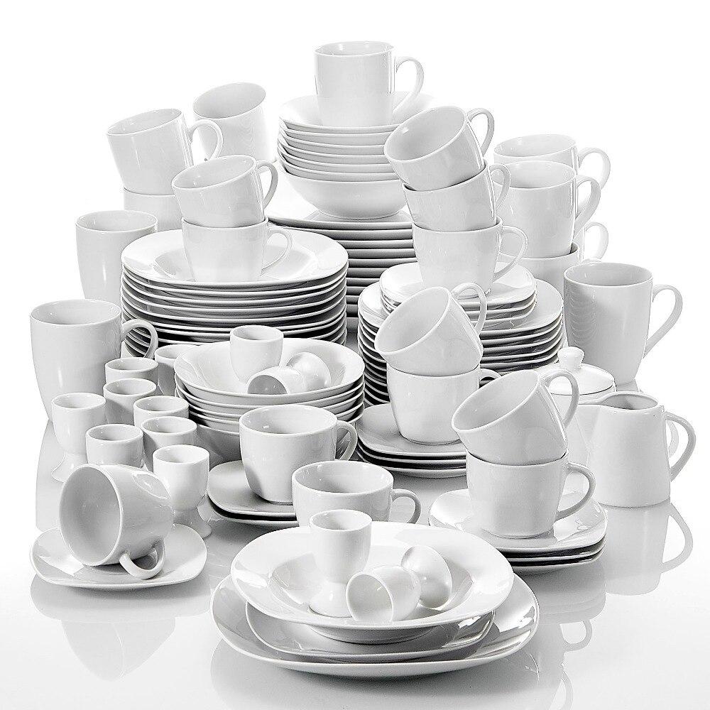 MALACASA série Elisa ensemble de dîner 100 pièces avec 6 tasses, soucoupes, tasses, coquetier, bols de céréales, Service de assiettes à soupe Dessert