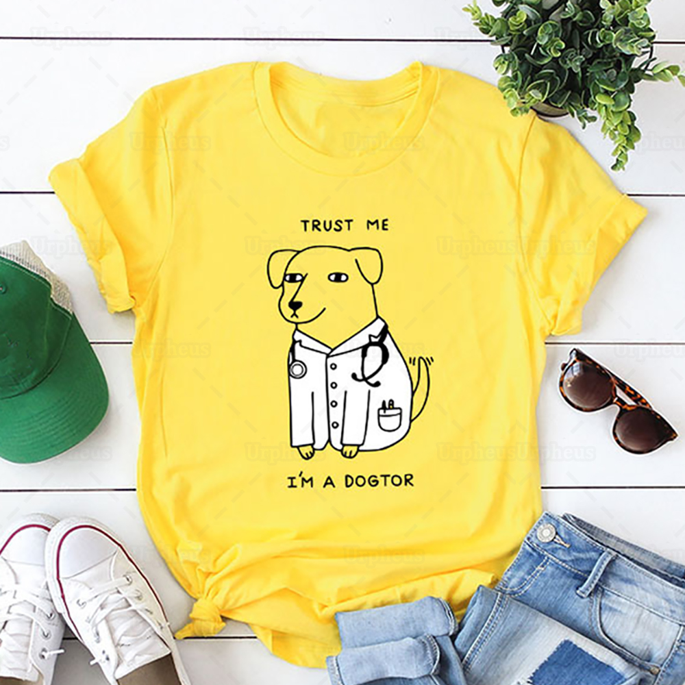 Funny Design Shirt Trust Me I'm A Dogtor Humor Tshirt for Dog Lovers Gift T-shirt Top Tees Oversize Available image