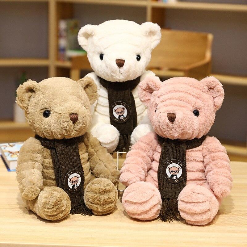 Kawaii Teddy Bear Plush Toys Stuffed Animal Pillow Soft Doll Scarf Sweater Bear Plushie Birthday Valentines Day Gifts For Kids