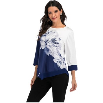New 2020 Shirt Women Spring Summer Floral Printing Blouse 3/4 Sleeve Casual Hem Irregularity Female fashion shirt Tops Plus Size 1