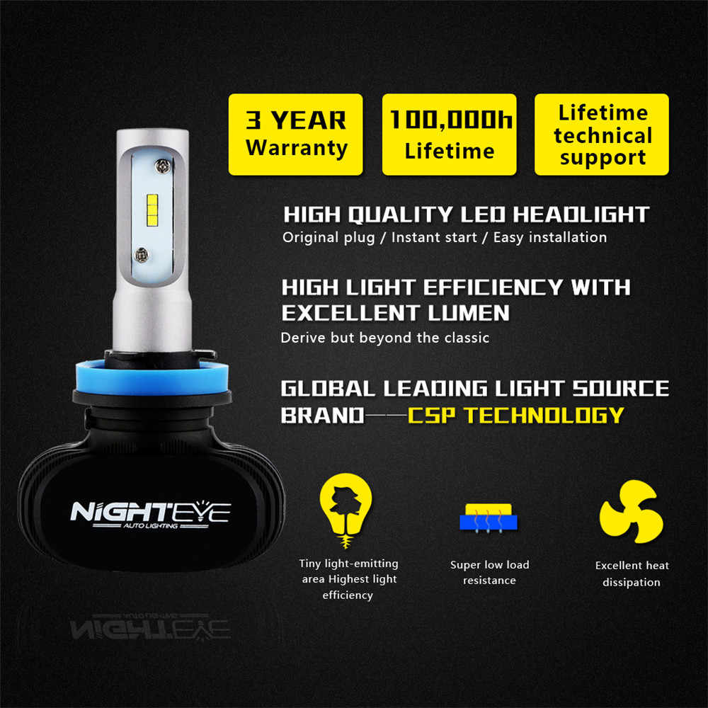 Nighteye H11 Led H7 H4 9005 9006 50W 8000LM 6500K CSP LED Car Headlights Conversion Kit Fog Lamp Bulb Super Bright Car Lights