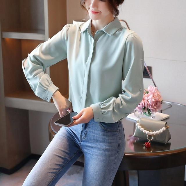 Korean Women Shirts Chiffon Women Blouses Office Lady Long Sleeve Shirts Woman Blouse Tops Plus Size Blusas Mujer De Moda 2020 4