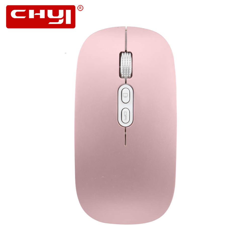 CHYI 2.4G Ultra Thin Silent Wireless Mouse Rechargeable USB Optical Computer Mice 1600 DPI Noiseless Rose Gold Mause For Macbook image