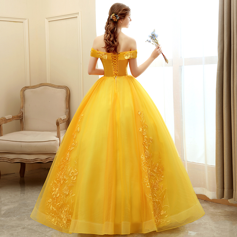 Mrs Win Quinceanera Dress 2021 New Prom Dress Yellow Ball Gown Sweet Floral Print Quinceanera Dresses Robe De Bal Custom Size