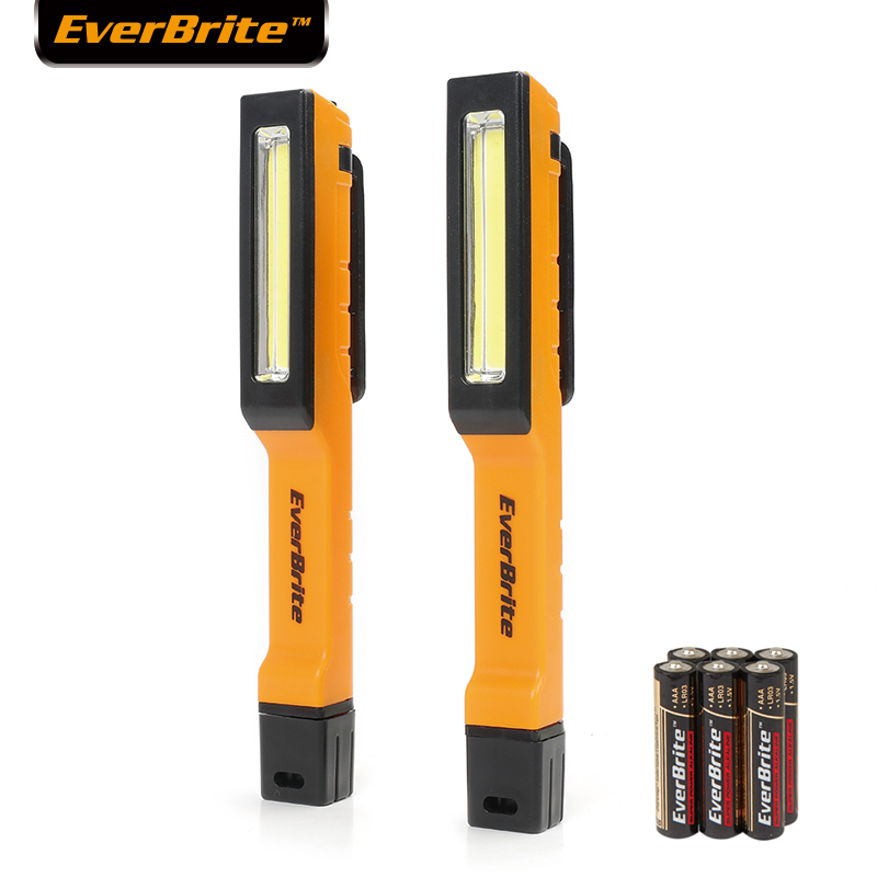 EverBrite COB Work Light 2 Pack Pen Light Pocket LED Flashlight 150 Lumen With 180 Degree Twist Magnetic Clip