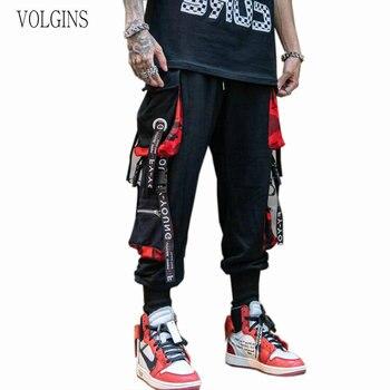Calças masculinas de bolso solto hiphop nova moda corredores calças masculinas hombre masculino casual moda carga 1