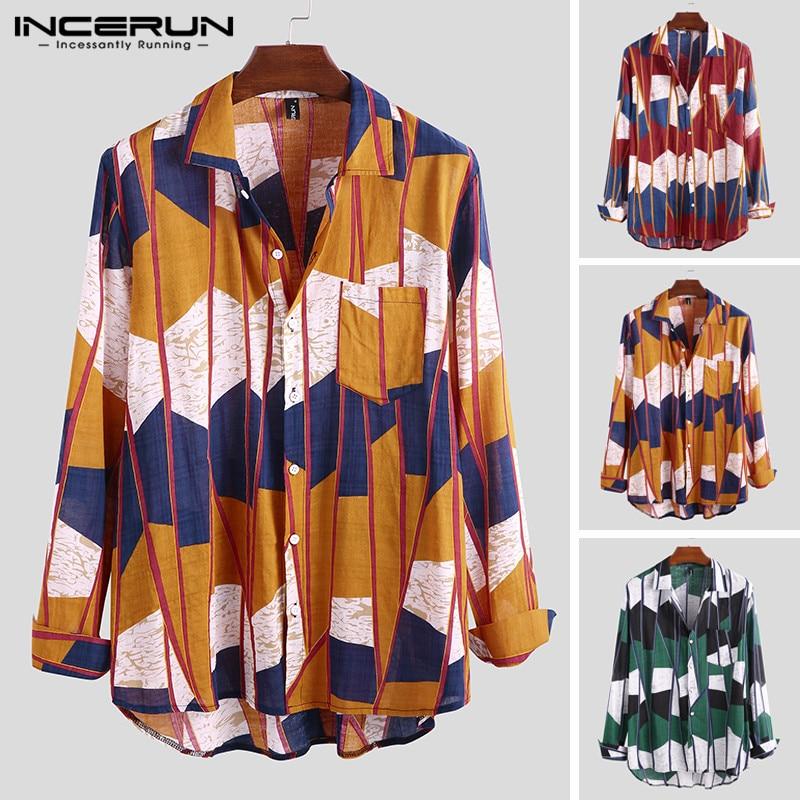 INCERUN Fashion Geometric Print Men Shirt Long Sleeve Loose Casual Brand Hawaiian Button Camisa 2019 Streetwear S-5XL