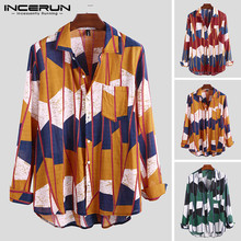 INCERUN Fashion Geometric Print Men Shirt Long Sleeve Loose Casual Brand Hawaiian Button Camisa 2019 Streetwear S-5XL
