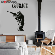 Modern War Soldier Wall Sticker Army Rifle Courage Shooting Vinyl Wall Decals Removable Murals Home Decor Boys Room Teens 3626