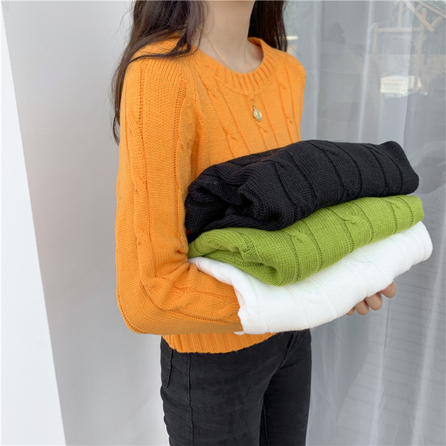 Ailegogo New 2020 Winter Women's Crop Top Sweaters Tops Fashionable Korean Style Knitting Casual Solid Pullover O-neck 6