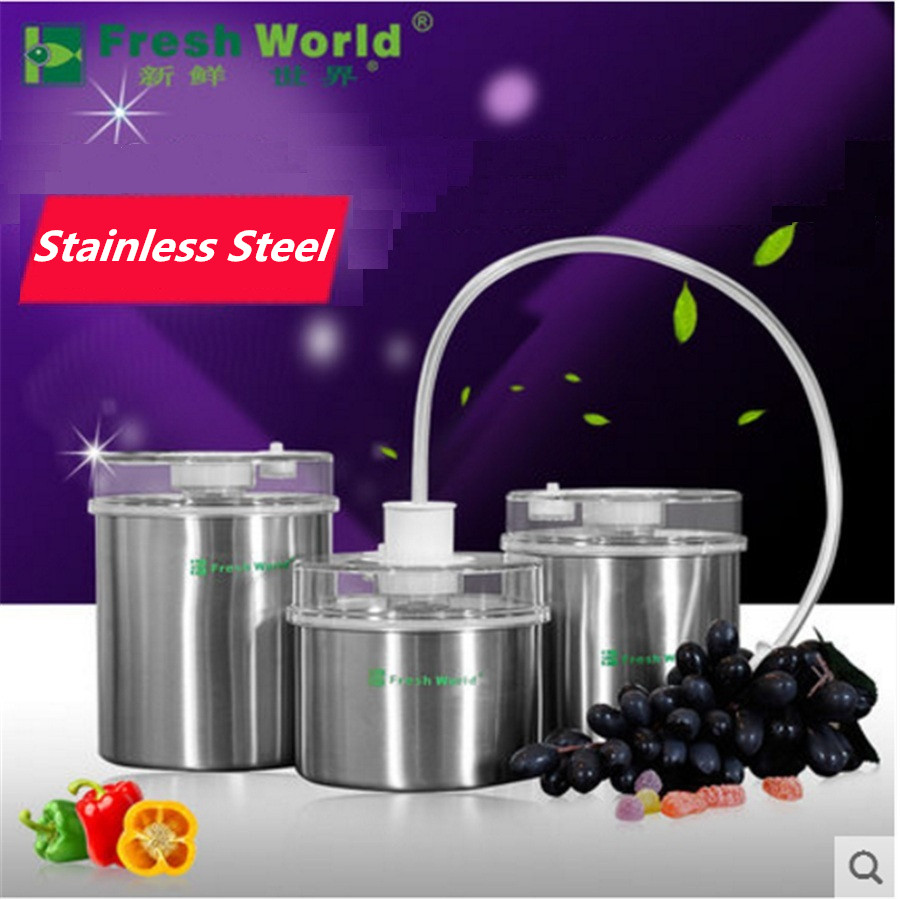 Stainless Steel Food Storage Container Fresh Keeping Canister ( 1300ML+1000ML+700ML ) Vacuum Container Food Sealer Pump Onsale