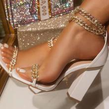 Kobiety pompy jednokolorowe kwadratowe Toe Zipper Chain damskie buty na wysokim obcasie 2021 nowa letnia moda Casual Outdoor Sexy sandały damskie tanie tanio NoEnName_Null podstawowe Kwadratowy obcas CN (pochodzenie) ZAOKRĄGLONY PRZÓD 0-3 cm Super Wysokiej (8cm-up) Dobrze pasuje do rozmiaru wybierz swój normalny rozmiar