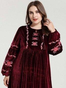Embroidery Cotton Caftan Muslim Hijab Women Dress For Girls