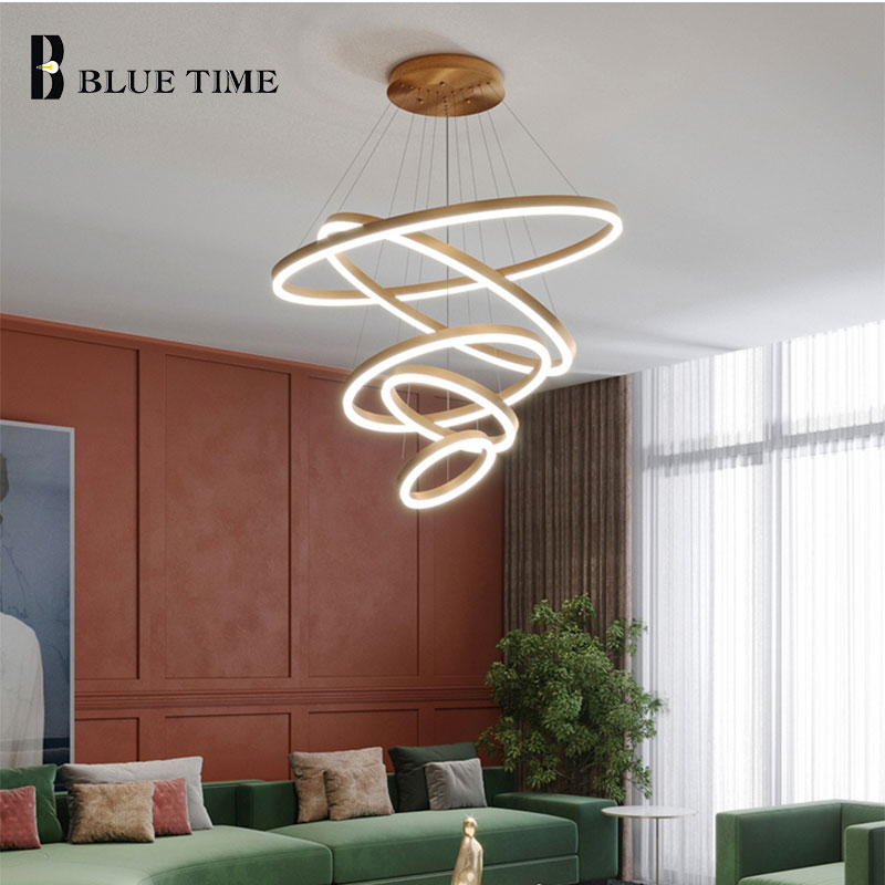 Modern LED Chandeliers For Living Room Dining Room Parlor Hanging Lamp Gold&Black Rings Ceiling Chandelier Lighting Fixtures