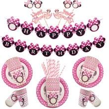 Mini souris rose jetable, serviettes, assiettes, tasses, décoration de mariage, cadeaux pour fête prénatale, anniversaire, fournitures de fête